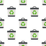 Empty Trash Can Flat Icon Seamless Pattern Royalty Free Stock Photos