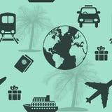 Seamless pattern travel, cruise, ship, plane Royalty Free Stock Images