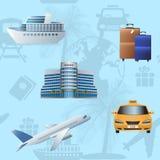 Seamless pattern travel, cruise, ship, plane, hotel Royalty Free Stock Image