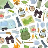 Camping and tourism equipment. Seamless pattern of travel equipment. Accessories for camping and camps. Colorful cartoon illustration of camping and tourism Royalty Free Stock Image