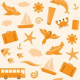 Seamless pattern with travel icons. Orange seamless pattern with beach vacation icons Royalty Free Stock Photography