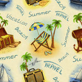 Pattern with travel illustrations Stock Images