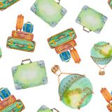 Seamless pattern about travel from suitcases and a balloon  Royalty Free Stock Images