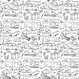 Seamless pattern with travel and transport objects Royalty Free Stock Photography