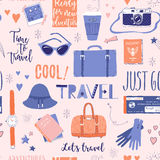Seamless pattern about travel, vacation, adventure. Vector seamless pattern on the theme of travel, vacation, adventure. Retro 50`s style. Handdrawn lettering Royalty Free Stock Photo