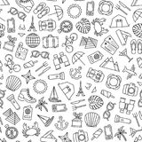 Seamless pattern with traveling icons Stock Photo