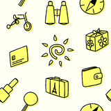 Seamless pattern for traveling in yellow. Vector illustration Royalty Free Stock Image
