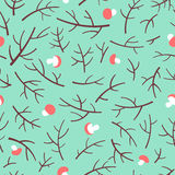 Seamless pattern with tree branch and mushrooms over green background. Royalty Free Stock Image
