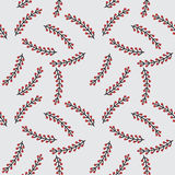 Seamless pattern with tree branches and red berries on white background. Royalty Free Stock Images
