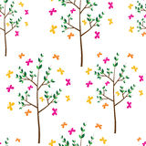 Seamless pattern, tree and butterflies Royalty Free Stock Photo