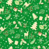 Seamless pattern with tree, leaves and  deer on a green background. Royalty Free Stock Photography
