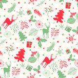 Seamless pattern with tree, leaves and  deer on a white background. Royalty Free Stock Images