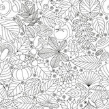 Seamless pattern with tree leaves, mushrooms and vegetables. Various elements for design. Cartoon vector illustration Royalty Free Stock Images