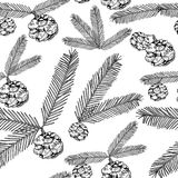 Seamless pattern tree twigs and cones painted line on a white. Tree, fir, pine cones, twigs.  illustration. Seamless pattern tree twigs and cones painted line on Royalty Free Stock Photo