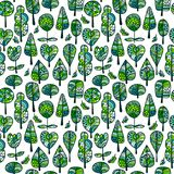 A seamless pattern with trees,autumn leaf background.  Royalty Free Stock Photo