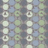 Seamless pattern with trees and birds in forest Stock Photo