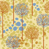 Seamless pattern with trees and birds in forest Royalty Free Stock Image