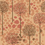 Seamless pattern with trees and birds in forest Royalty Free Stock Photography