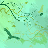 Seamless pattern with trees and branches  abstract pattern with birds Stock Photography