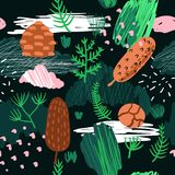 Seamless Pattern with Trees, Branches and Fir Cones. Childish Forest Background with Abstract Elements for Fabric. Textile, Wallpaper, Wrapping Paper Royalty Free Illustration
