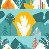 Seamless pattern. Trees are broad-leaved tropical, ferns. Flat style. Preservation of the environment, forests. Park, outdoor. Vector illustration Stock Photos