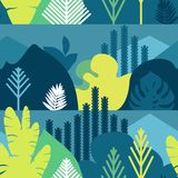 Seamless pattern. Trees are broad-leaved tropical, ferns. Mountain landscape. Flat style. Preservation of the environment, forests. Park, outdoor. Vector Stock Photos