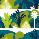 Seamless pattern. Trees are broad-leaved tropical, ferns. Mountain landscape. Flat style. Preservation of the environment. Seamless pattern. Trees are broad Stock Photography