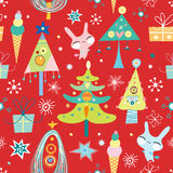 Seamless pattern of trees and bunnies Royalty Free Stock Photo