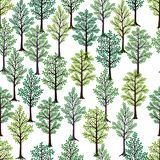 Seamless pattern. Trees with green foliage isolated on white background. Ideal for textile print and wallpapers Stock Photo