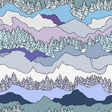 Seamless pattern with trees and mountains Royalty Free Stock Image