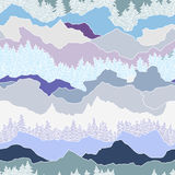 Seamless pattern with trees and mountains Royalty Free Stock Photography