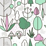 Seamless pattern trees in park stock images