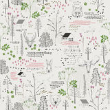 Seamless pattern with trees, shrubs, foliage, animals on light background in vintage style. Stock Photo