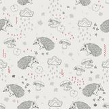 Seamless pattern with trees, shrubs, foliage, animals on light background in vintage style. Stock Photography