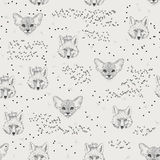 Seamless pattern with trees, shrubs, foliage, animals on light background in vintage style. Royalty Free Stock Photo