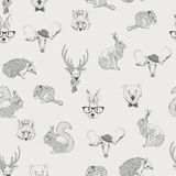 Seamless pattern with trees, shrubs, foliage, animals on light background in vintage style. stock illustration