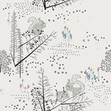 Seamless pattern with trees, shrubs, foliage, animals on light background in vintage style. vector illustration