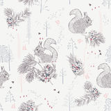 Seamless pattern with trees, shrubs, foliage, animals on light background in vintage style. Stock Images