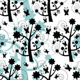 Seamless pattern with trees silhouettes Royalty Free Stock Photo