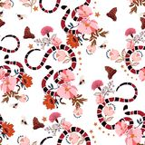 Seamless pattern Trendy snake with flowers graphic design vector. Blooming of floral for fashion, t-shirt , and all prints on white background vector illustration