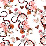 Seamless pattern Trendy snake with flowers graphic design vector vector illustration