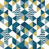 Triangle geometric seamless pattern with coconut leaves. Seamless pattern of triangle memphis with tropical fashion royalty free illustration