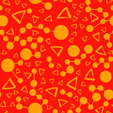Seamless pattern with triangles and connected spots on a background. Vector repeating texture. Orange Seamless pattern with triangles and connected spots on a Stock Photography