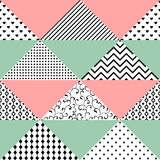 Seamless pattern of triangles with different textures. The pattern can be used for printing on textiles, wallpaper, packaging