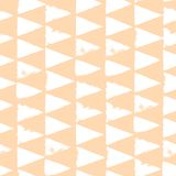 Seamless pattern with triangles. Forms printed in ink. Pink, white color. Hand drawn. Vector illustration Royalty Free Stock Images
