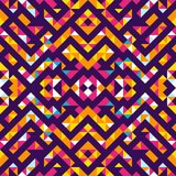 Seamless pattern of triangles and lines. Zigzags and sharp corners. Movement of geometric shapes. Ethnic style Stock Illustration