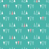 Seamless pattern of triangles on a mint green background. vector illustration