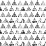 Seamless pattern of triangular patches of different patterns. Black and white background. Royalty Free Stock Photography
