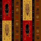 Seamless pattern with tribal African masks. Ethnic ornament. Vector. royalty free illustration