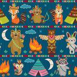 Seamless pattern with tribal animals night Royalty Free Stock Photography
